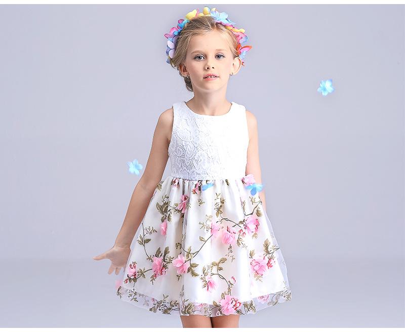 new 2016 white flower girl dresses for weddings dress girl ivory mesh flower summer girls dresses tulle children clothing girls(China (Mainland))