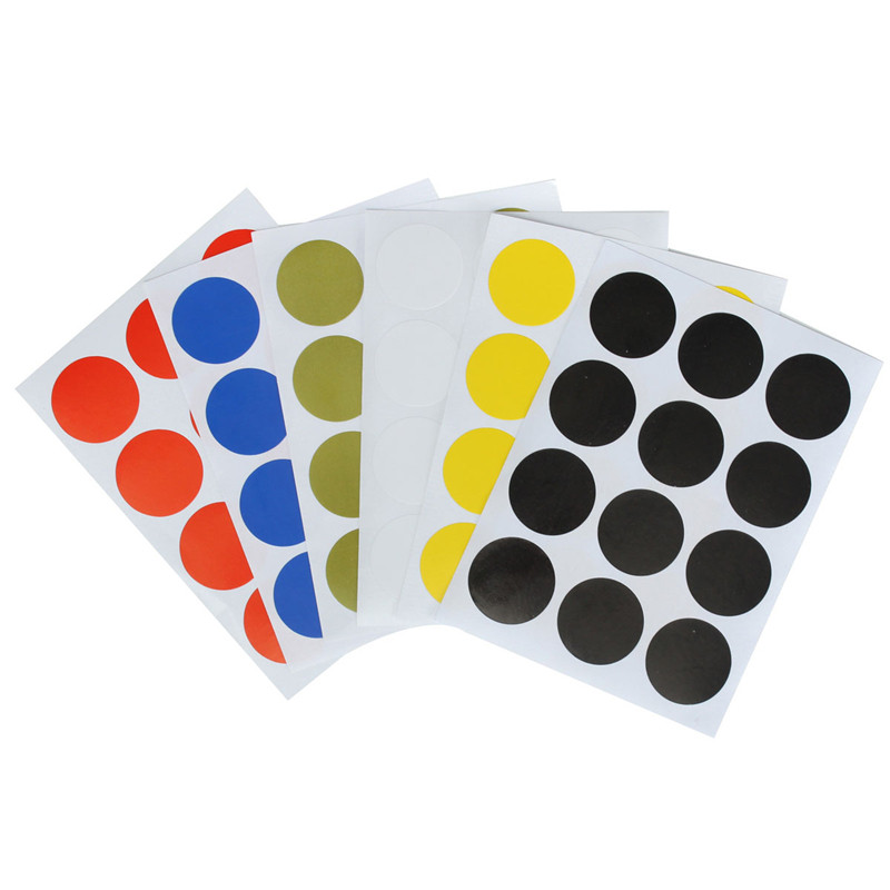 12pcs/set 25mm Plastic Vinyl Round Code Dot Blank Price Stickers Circle Sticky Labels 6 Colors Office School Stationery Supplies(China (Mainland))