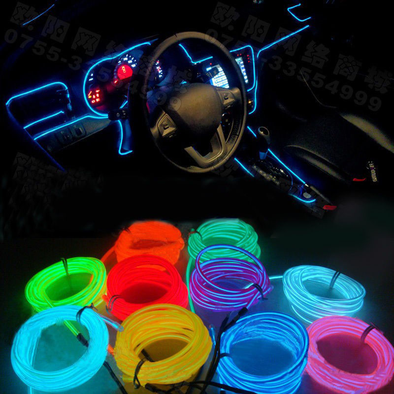 buy 10 colors diy 12v 110v car interior led el strip tube wire rope neon glow. Black Bedroom Furniture Sets. Home Design Ideas