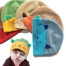 1 PCS New Lovely Cute Kawaii Baby Toddler Soft Cotton Cap Cat Stripe Hat Boys Girls Hat Infant Newborn Kids Beanies Accessories(China (Mainland))