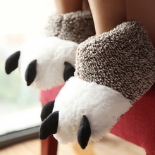 New Fashion Thermal Winter Indoor Cotton Padded Plush Cartoon Bear Claw Non-slip Slippers Home Cotton Slippers Floor Shoes(China (Mainland))