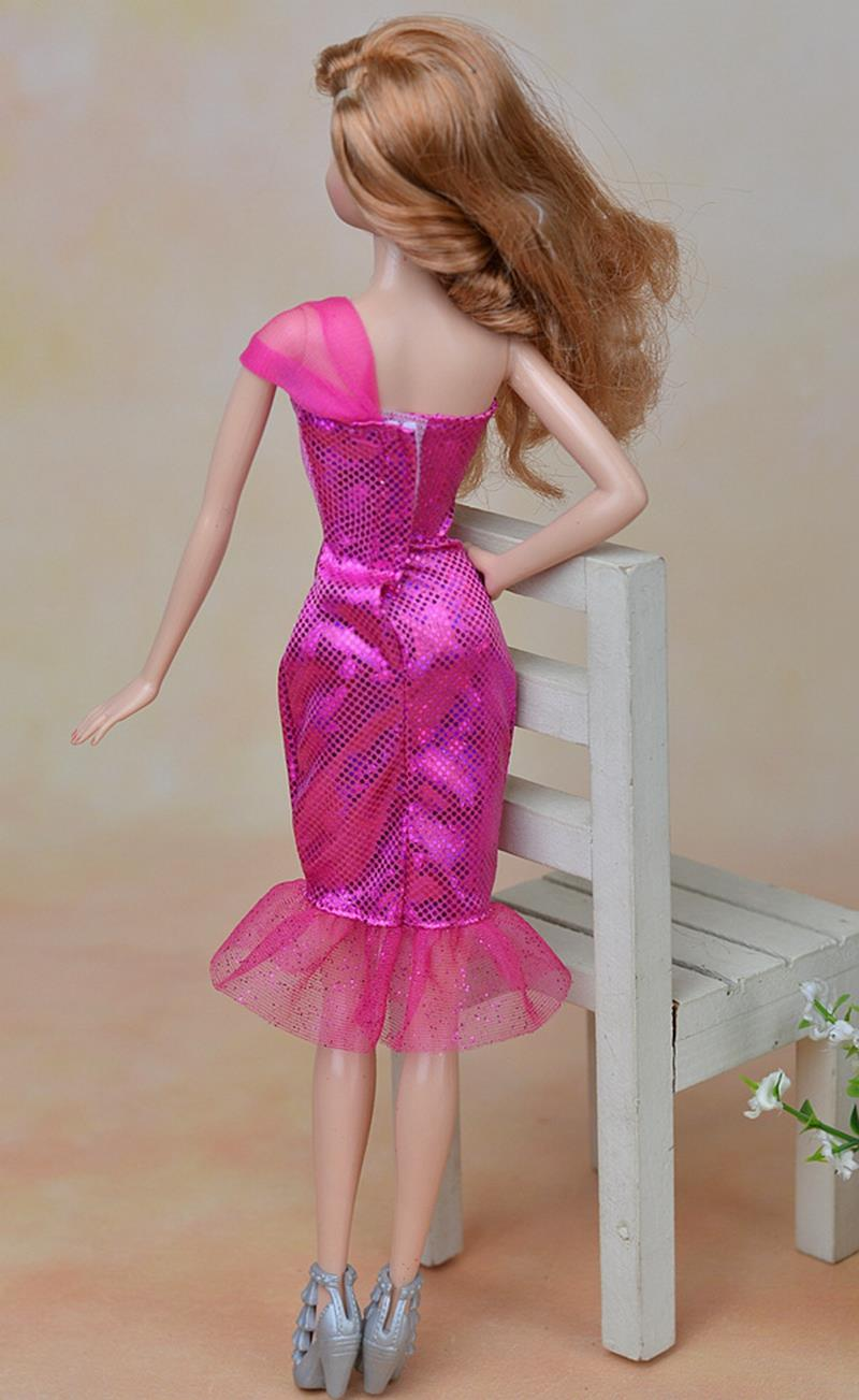 Excessive High quality Pink Horny One Shoulder Costume Celebration Clothes For Barbie Garments Doll Vestido For 1/6 BJD Dolls