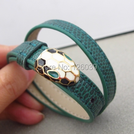 High grade new fashion 2 hoops green snake wrap leather bracelet adjustable STAINLESS STEEL famous brand jewelry for women<br><br>Aliexpress