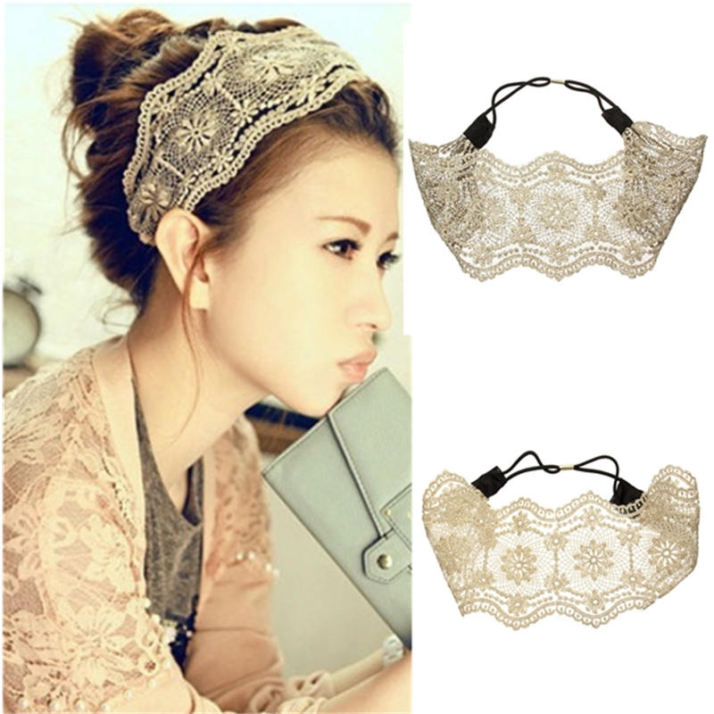 2015 New 1pcs Women Girls Hollow Lace Flower Headband Retro Hair Strap Wide Head Wrap Fashion Beauyty Accessories Hot Sale(China (Mainland))
