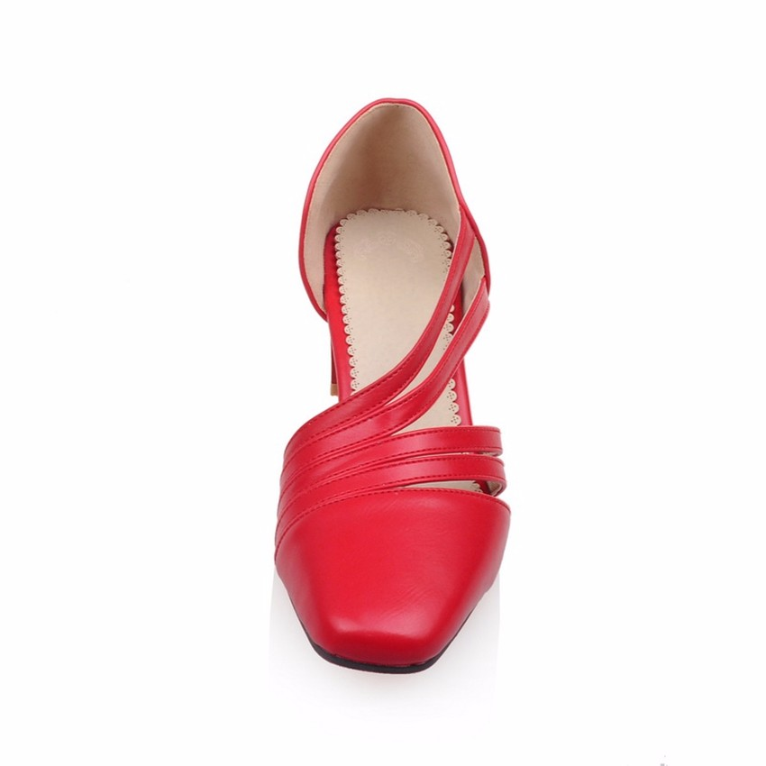 2016 New Plus Big Size 31-47 Red Beige Black Apricot Square Toe Sexy Casual Mid Heel Spring Autumn Girls Lady Womens Pumps D1086