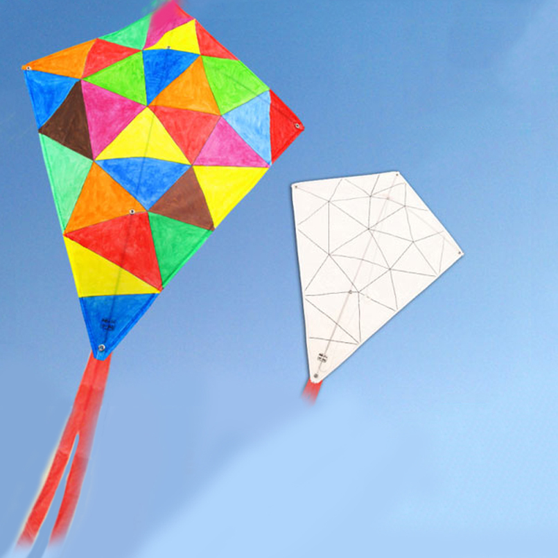 Outdoor Toys Sports kite Flying Children graffiti painting single DIY Kite With kite reels And 30m line 5 type for choosing(China (Mainland))