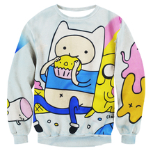 Alisister Harajuku style women/men adventure time sweatshirt print Funny cartoon Biscuit 3D hoodies Pullovers kawaii clothes(China (Mainland))
