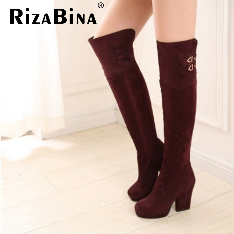 women high heel over knee boots ladies fashion long snow boot warm winter botas heels quality footwear shoes P19336 size 34-43