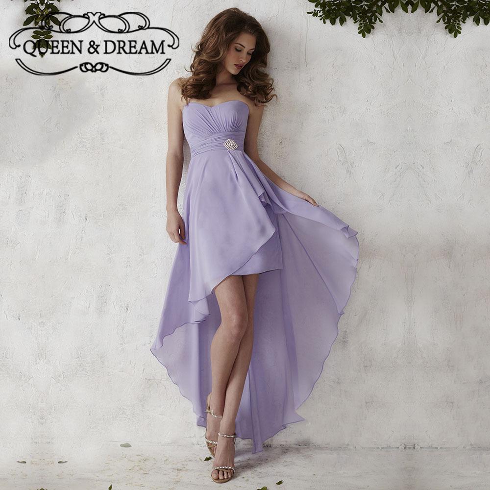 Simple Purple High Low Bridesmaid Dresses Formal Chiffon Backless High Low Short Girls Bridesmaid Dress Prom