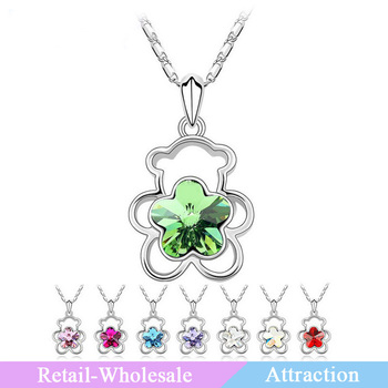 Fashion jewelry imported crystal hollow out the bear and plum flower shaped crystal necklace 2013 women