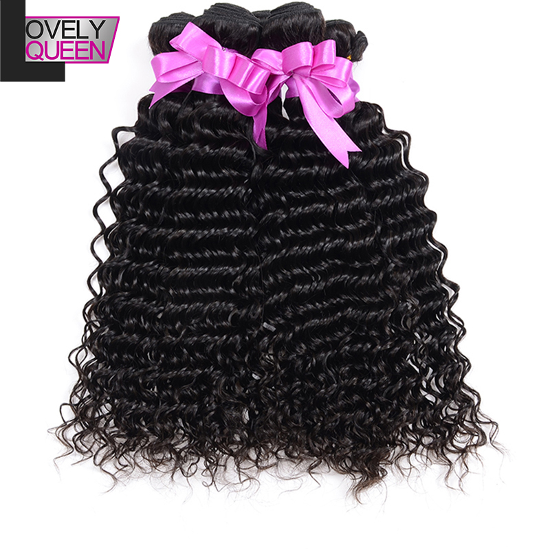 Natural Black Peruvian Virgin Hair Deep Wave 100% Unprocessed Human Full Bundles Thick End Curly