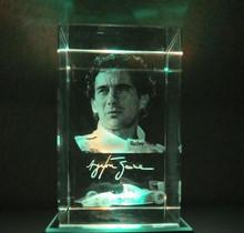 10 шт./лот, Настроить 5 * 5 * 8 см, 3D лазерная автогонщик кристалл-папье с круглым из светодиодов свет база, Кристалл бизнес-подарки
