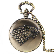 Retro Antique Bronze Pocket Watch Game of Thrones House Strak Winter is Coming Design Men Women Fob Watch Necklace Pendant Gift(China (Mainland))