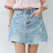 Buy Sexy Mini Skirts Women 2017 New Denim Skirts Riped Short Summer High Waist Denim Shorts Jeans Girls White Blue Korean Skirt for $16.14 in AliExpress store