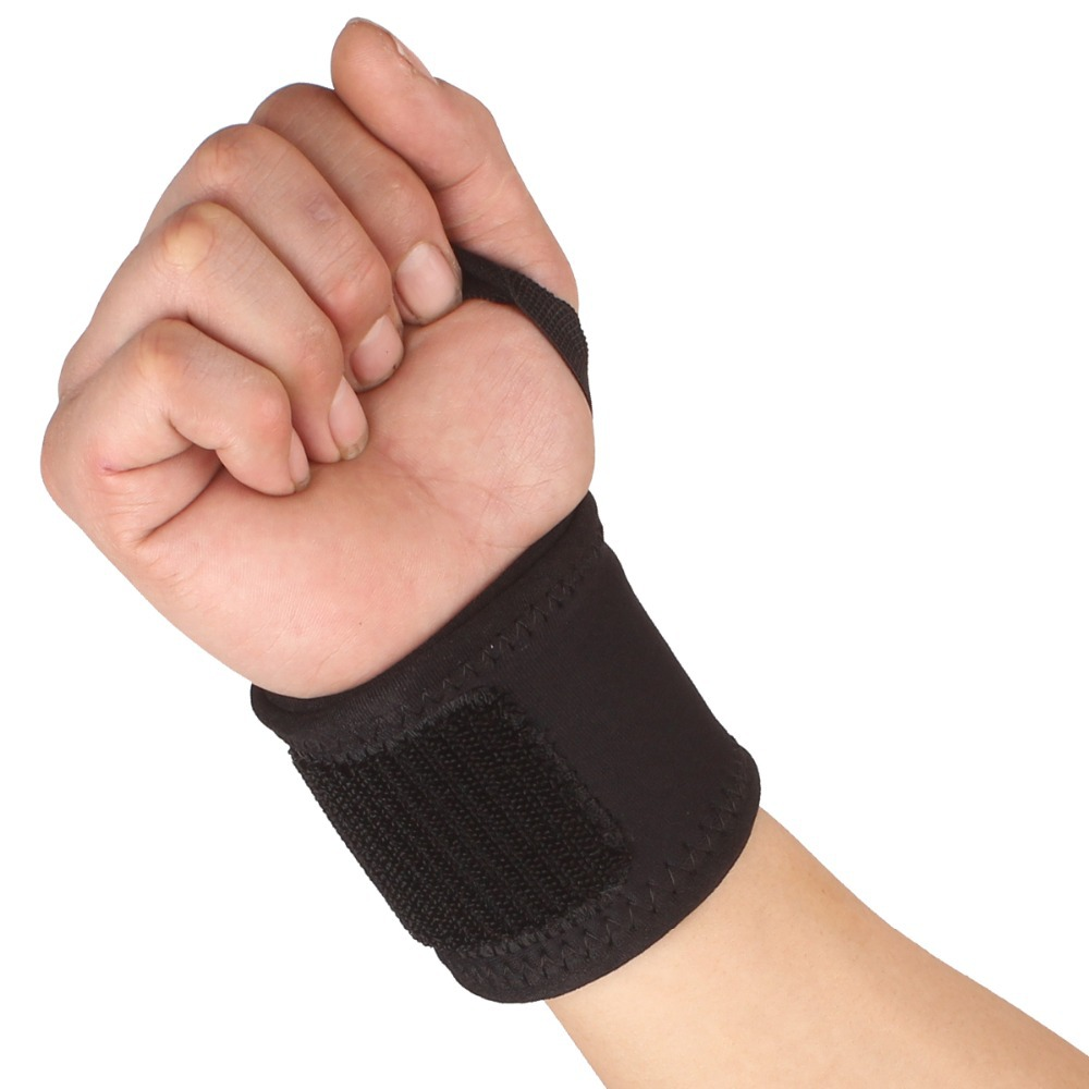 2 PCS New Sports Elastic Stretchy Wrist Joint Brace Support Wrap Band Thumb Loop - Black Tennis Wristband Gym Equipment(China (Mainland))