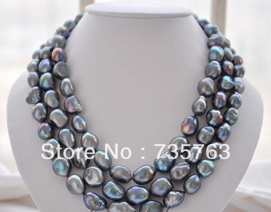xiuli 00703 3strands black baroque freshwater pearl necklace<br><br>Aliexpress