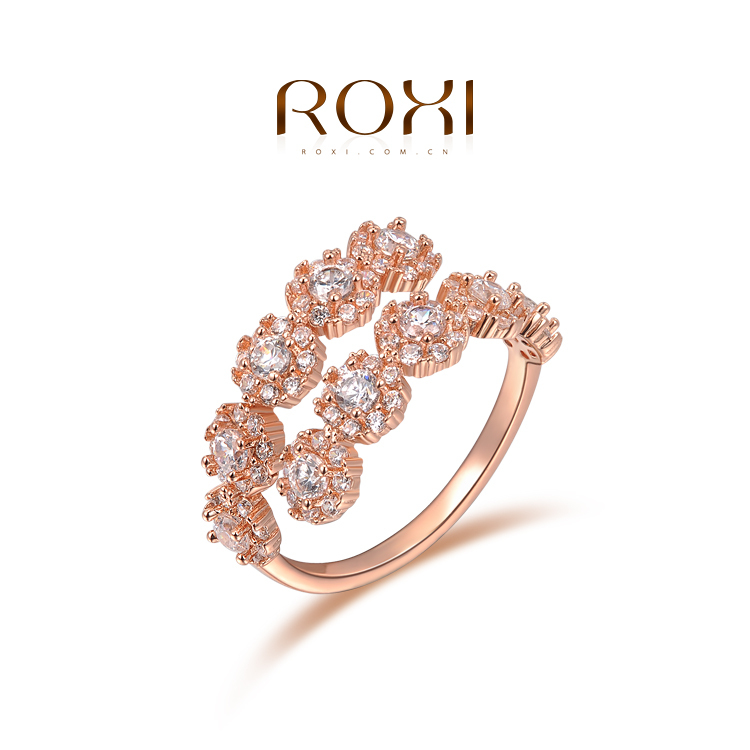 ROXI Women Rhinestone 18K Rose Gold Rings Spring New 2015 Fashion Jewelry Ring Wedding Rings For Women Fine Jewelry(China (Mainland))