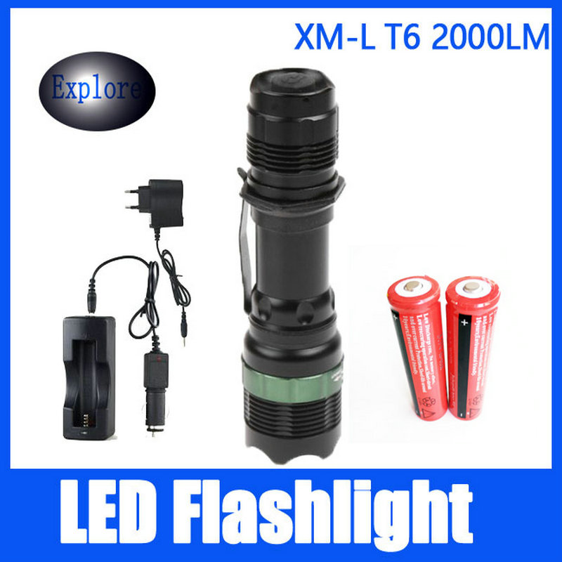 CREE XML-T6 2000 Lumens LED Flashlight Torch+2*18650 Rechargeable Battery+Car Charger+DC Charger+Power Adapter Low Price