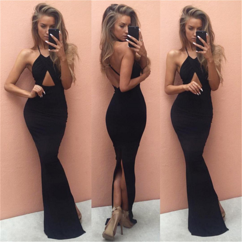 Halter Dress Backless Dress Maxi Long Bodycon Dress Cocktail Party Mermaid Wrap Ankle Length Solids paghetti strap(China (Mainland))