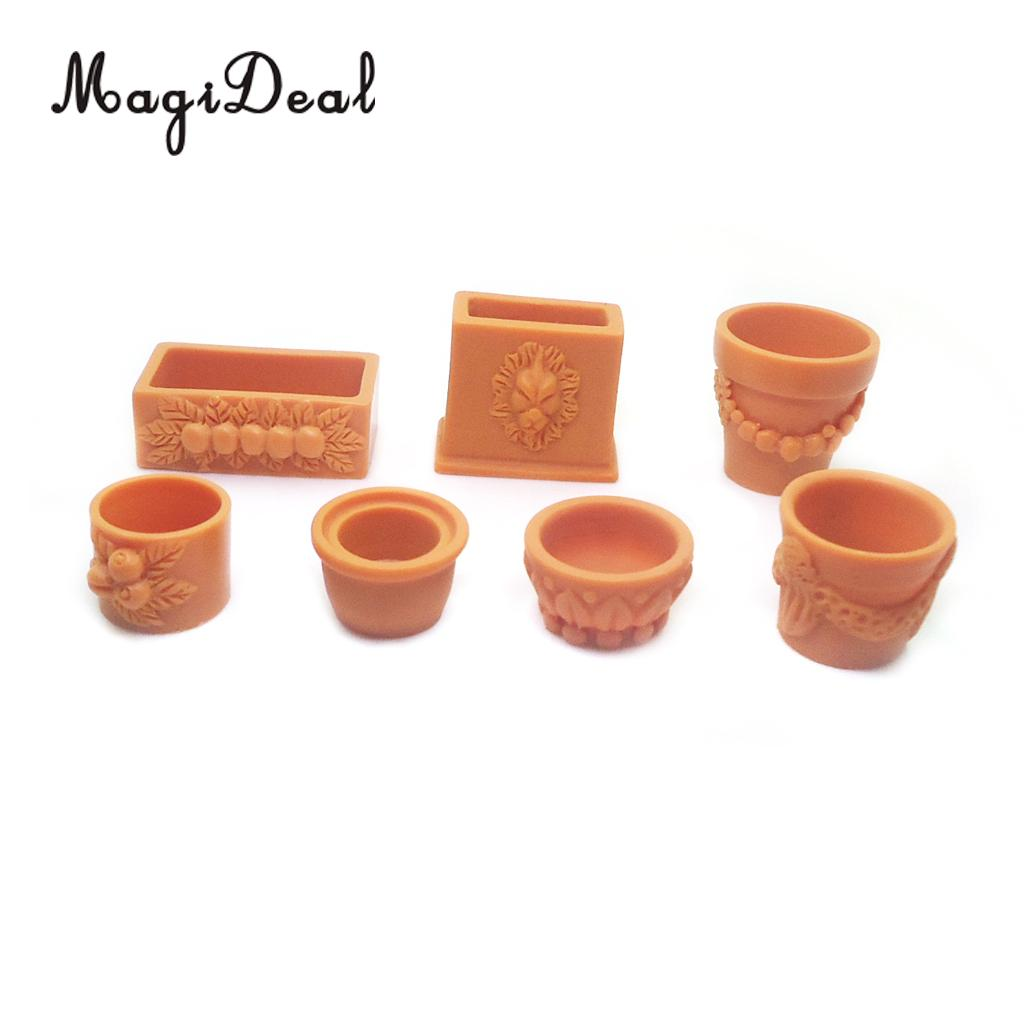 Set of 7 Pieces Miniature Flower Pot for 1/12 Scale Dollhouse Fairy Garden Yard Home Decor Accessories