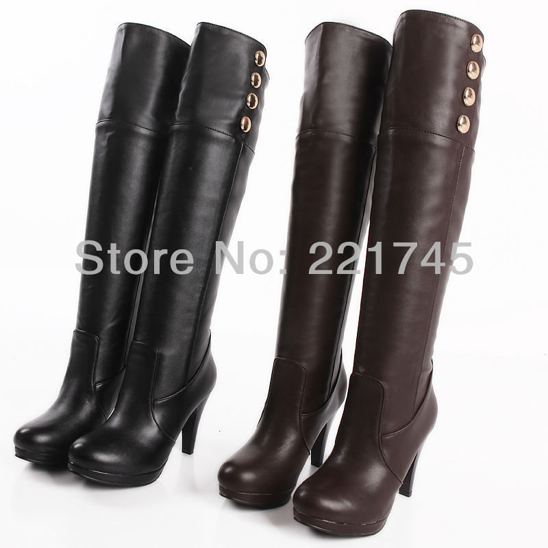 Black/Brown Ladies' Shoes Fashion PU Leather Platform High Heel Button Knee High Women's Boots Size US 3-15/ EU 33-48 b098(China (Mainland))