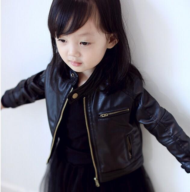 girls jackets kids pu black coats New girl coats PU children leather jacket<br><br>Aliexpress