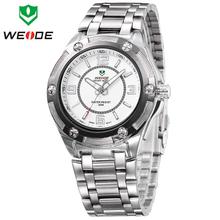 Nueva moda Original WEIDE negocios vestido reloj de acero completo militar deportes relojes de hombre genuino del cuarzo de japón reloj Casual