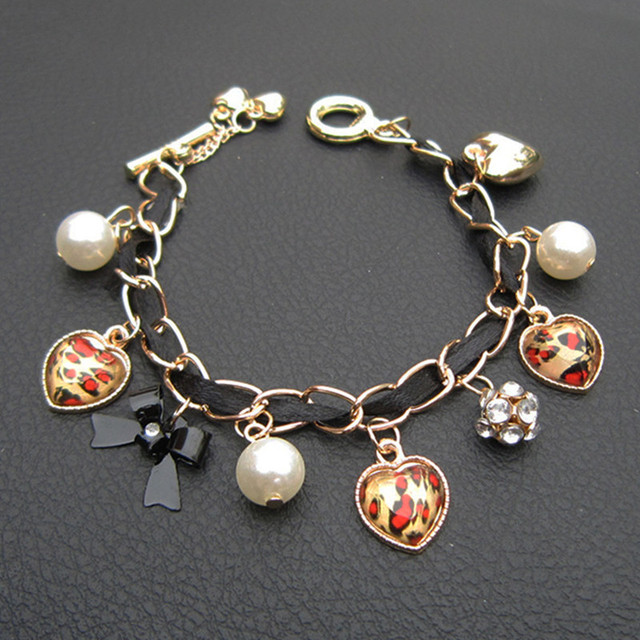 SX001 (Gril's Love Leopard Imitation Pearls heart Bracelet Jewelry wholesale