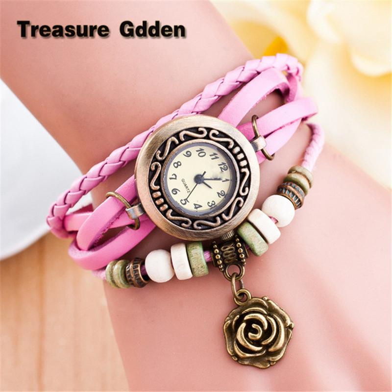 Brand Luxury Quartz Watch Women Genuine Leather Vintage Wristwatches Rose Pendant Bracelet Watches Relogio Mujer Watches(China (Mainland))