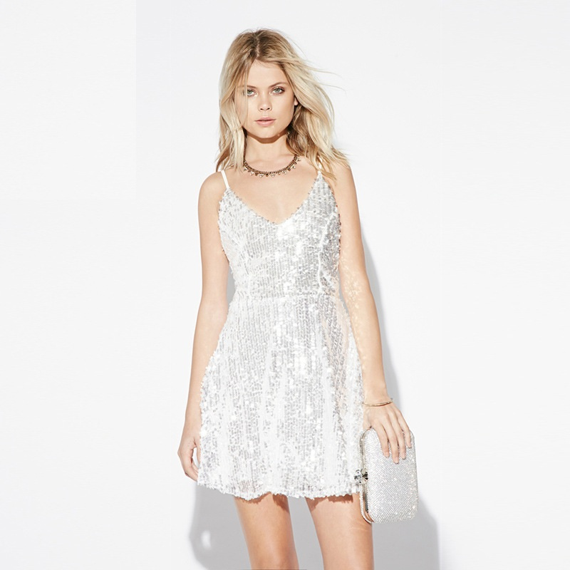2015 Fashion Trend Bling Bling Shine Sequine Strap Dress V neck A line Party Dresses Women White(China (Mainland))