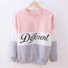 Different Letter Women's Casual Sweatshirt 2015 Women Pullover Hoodies Mix Color Female Fleece Sweatshirts Sudaderas Mujer 2015(China (Mainland))