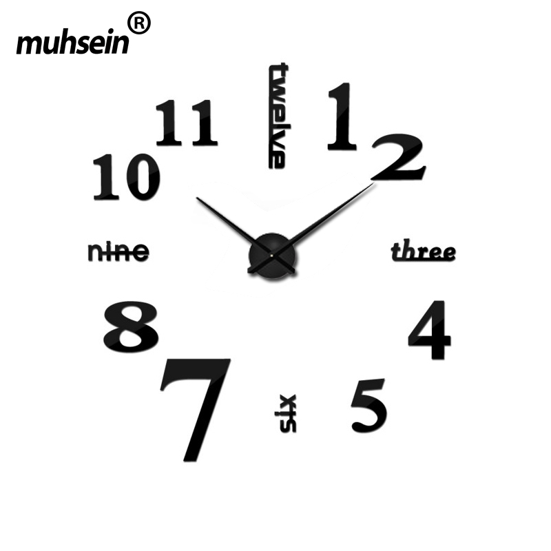Muhsein Fashion 3D Big Size Wall Clock Mirror Sticker DIY Brief Living Room Decor Meetting - Online 01 store