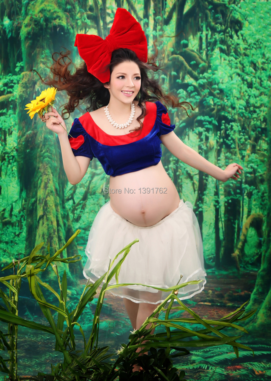 Snow-White Style Maternity Ball Gown 3pcs Dress Set Pregnant Photography Props Fancy Photo Shoot  Big Bow &amp; Top &amp; Tutu Dress <br><br>Aliexpress