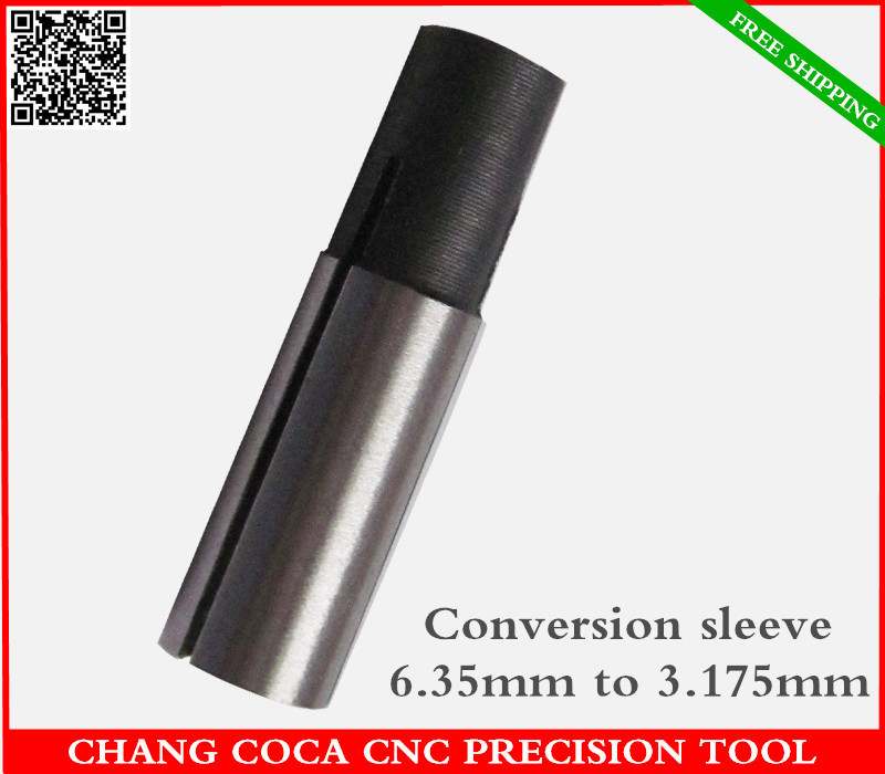 6mm to 3.175mm,Freeshipping CNC solid carbide End Mill conversion sleeve,woodworking router,high Precision Diameter conversion(China (Mainland))