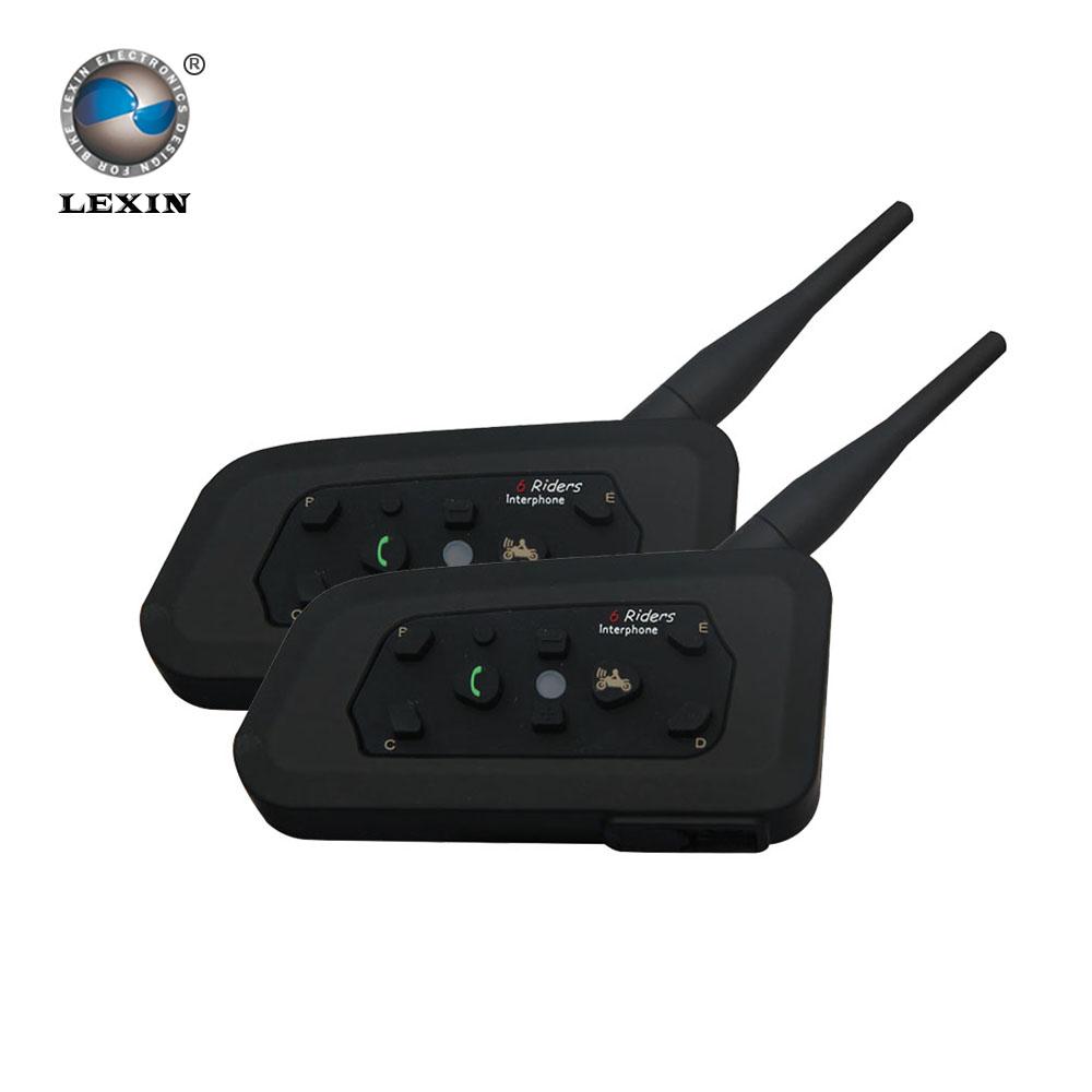 Lexin 2016 New 2PCS 1200M Motorcycle Bluetooth Helmet Intercom for 6 riders BT Wireless intercomunicador Interphone