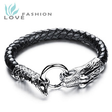 2015 New Fashion Fine Mens Jewelry Genuine Leather Bracelets Stainless Steel Chain Dragon Head Vintage bracelet Man Gift PH954MK