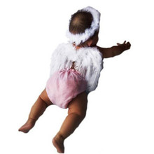 New Infant Newborn Baby Kids Angel Fairy Feather Wing Costume Photo Prop for Children's Day Gift Present Party Supplies d870565(China (Mainland))