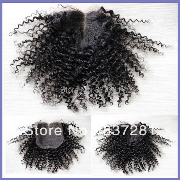 #1B kinky curly 100% brazilian virgin human remy hair 4X4 swiss lace closure bleached knots - Flower factory store