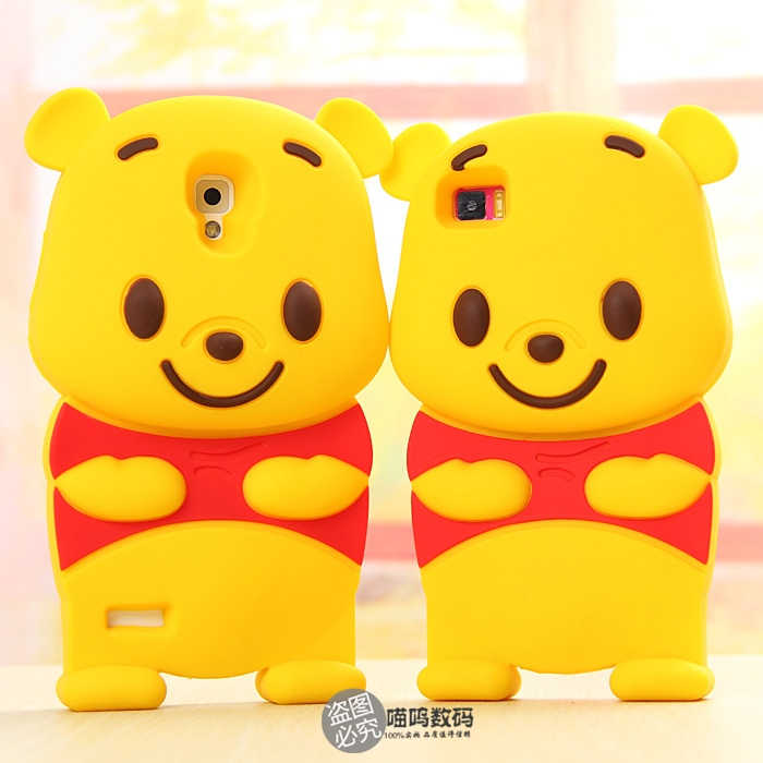 Fashion lovely Winnie Pooh pattern design 3d cute cartoon soft silicone case rubber phone bag for xiaomi 2/2s 3 4 hongmi 1s note(China (Mainland))