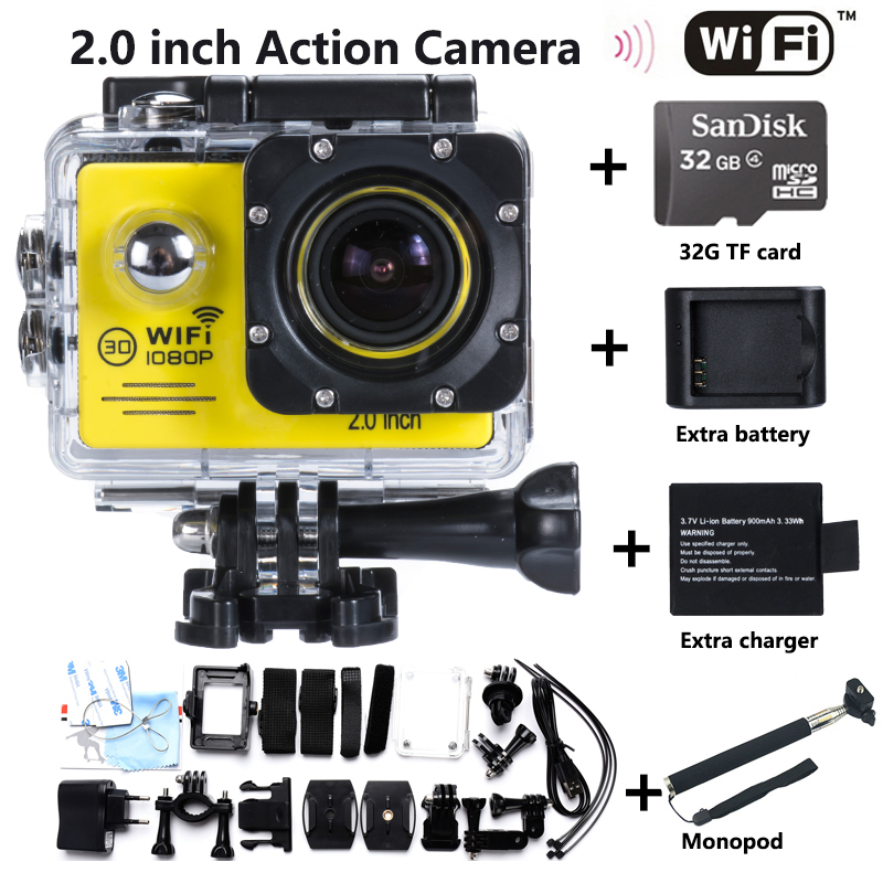 Free shipping Hero4 Style Action Camera 2.0 LED Sports Mini Cam Recorder Marine Diving 14MP 1080P 170 Wide Angle Lens WIFI HD DV(China (Mainland))