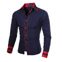 Men Shirt 2016 Fashion Brand Men'S Cuff Striped Long-Sleeved Shirt Male Camisa Masculina Casual Slim Chemise Homme XXL CNSKD(China (Mainland))