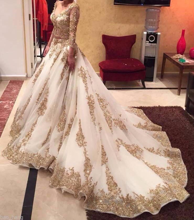 Cinderella two pieces wedding dress arabic ball gown gold for 3 4 sleeve ball gown wedding dress