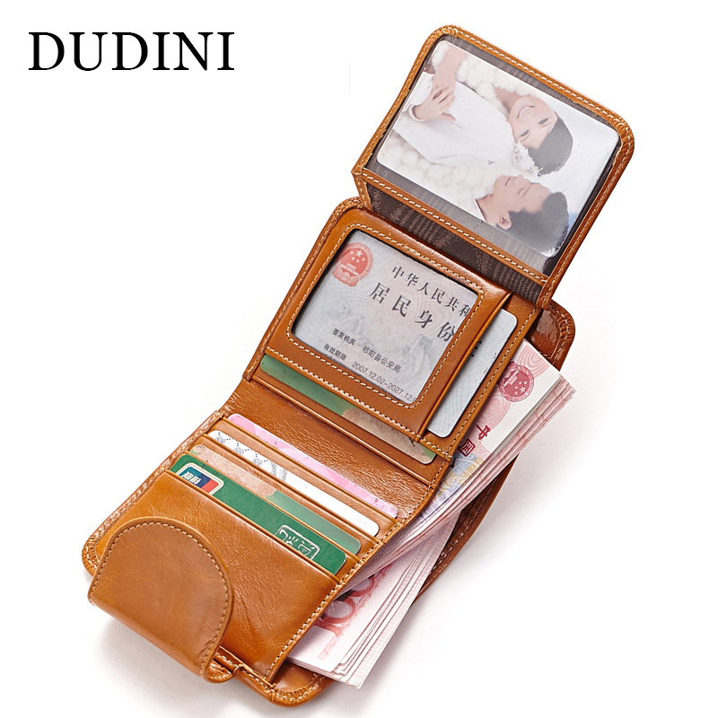 DUDINI Oil Wax Paper Genuine Leather Womens Wallet New Fashion Purse Women's Cowhide Clutch Credit Thread Card Holder Vintage(China (Mainland))