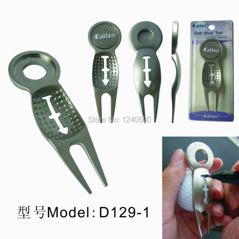 Free Shipping Golf divot tool w golf ball liner plus golf ball marker 2pcs/lot(China (Mainland))