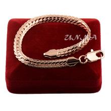 Man Woman 6mm 18K Real Rose Gold Filled Bracelet Bangles Herringbone Chain Fashion(China (Mainland))