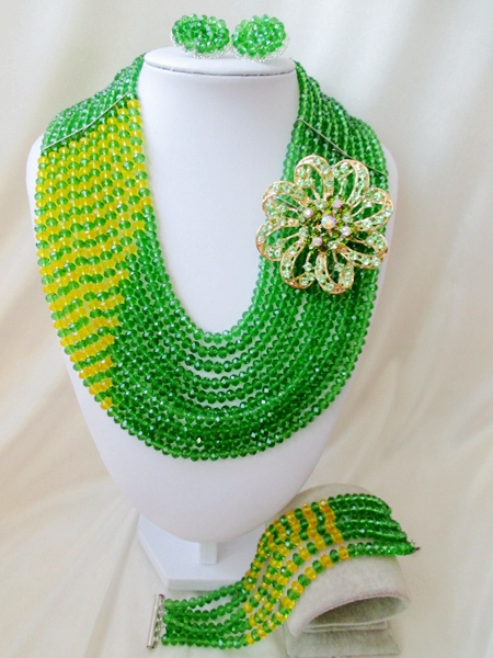 2015 Fashion nigerian wedding african beads jewelry set african green crystal beads necklace set  Free shipping P-5644<br><br>Aliexpress