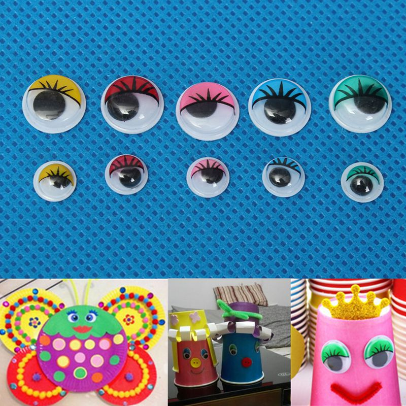 100pcs 8mm/12mm Eyelashes Wiggly Wobbly Googly Eyes For DIY Craft Decoration Doll Toys Colorful Movable Eye Dolls Accessories(China (Mainland))