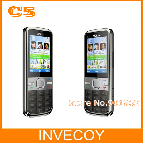 "C5 Original Nokia Unlocked C5 cell phone 3.2MP 2.2"" GPS Bluetooth Bar design One Year Warranty freeship(China (Mainland))"