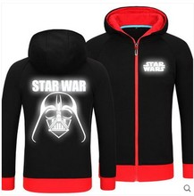 High Quality STAR WARS Glow in the Dark Zip Up Hoodies Jackets Coats Fleece Youngsters Fashion Hooded Sweatshirts Free shipping