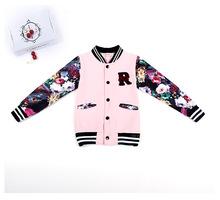 Teenage Girls Baseball Jackets Spring Autumn 2016 New Kids Girls Hoodies Sweatshirt Girls Sportswear Top Girls Patterned Coat(China (Mainland))